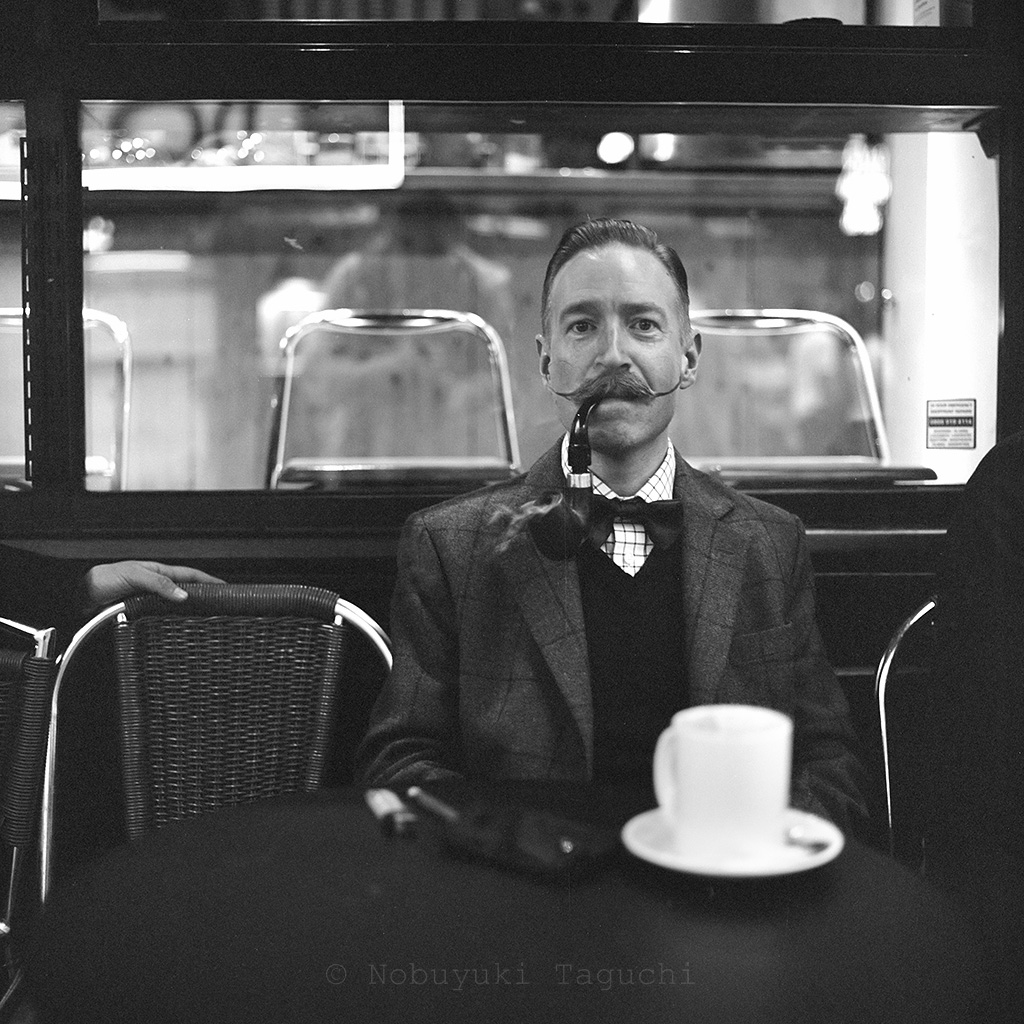 Street Photography London 120 Film  - Man with mustache