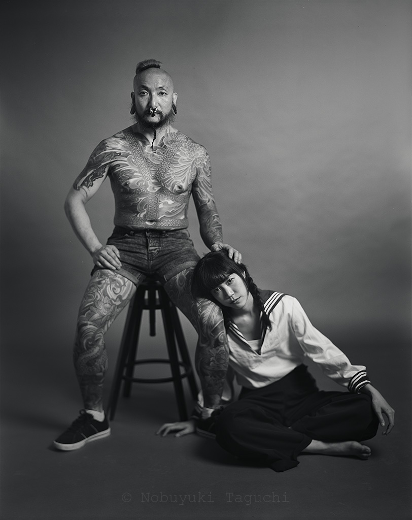 Portrait - Large Format - Tattooed Man with Girl